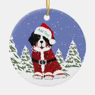Ornement Rond En Céramique Pattes faites sur commande de Père Noël de chien