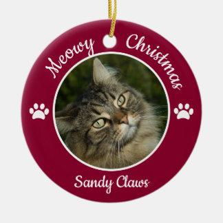 Ornement Rond En Céramique Pattes mignonnes d'année de nom de photo de chat