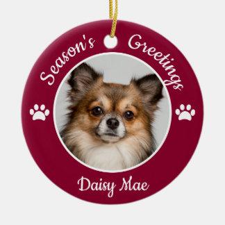 Ornement Rond En Céramique Pattes mignonnes d'année de nom de photo de chien