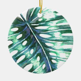 Ornement Rond En Céramique Paume verte de feuille de monstera tropicale