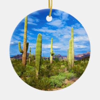 Ornement Rond En Céramique Paysage de cactus de désert, Arizona