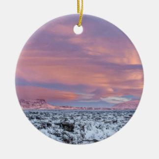 Ornement Rond En Céramique Paysage de gisement de lave de Milou, Islande