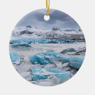 Ornement Rond En Céramique Paysage de glace de glacier, Islande