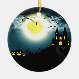 Ornement Rond En Céramique Paysage de Halloween