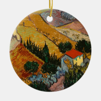 Ornement Rond En Céramique Paysage de Vincent van Gogh | avec la Chambre et