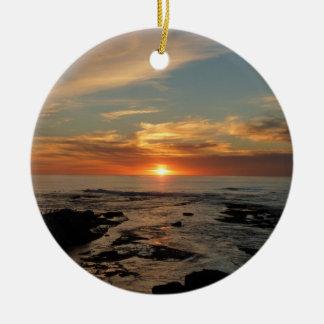 Ornement Rond En Céramique Paysage marin du coucher du soleil II la