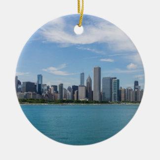 Ornement Rond En Céramique Paysage urbain de jour de Chicago