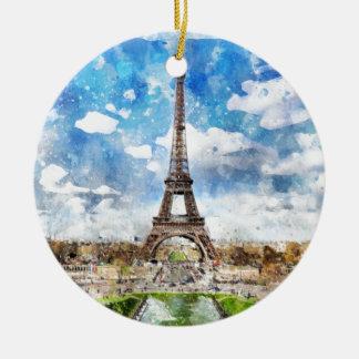 Ornement Rond En Céramique Paysage urbain Paris, Eiffel d'aquarelle vers