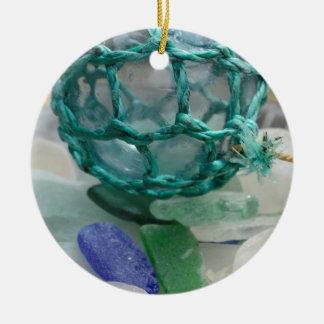 Ornement Rond En Céramique Pêche du flotteur sur le verre, l'Alaska