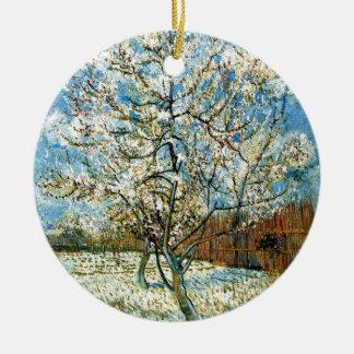 Ornement Rond En Céramique Pêchers dans la fleur Vincent van Gogh