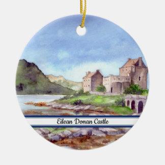 Ornement Rond En Céramique Peinture d'aquarelle de château d'Eilean Donan