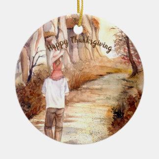 Ornement Rond En Céramique Peinture d'aquarelle de traînée d'automne