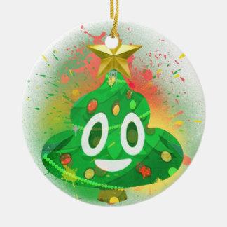 Ornement Rond En Céramique Peinture de jet d'arbre de Noël d'Emoji