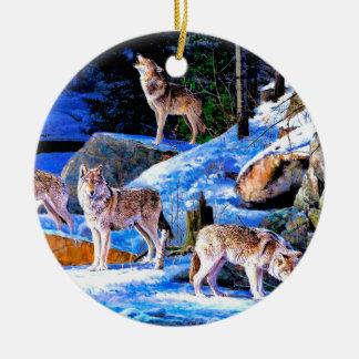Ornement Rond En Céramique peinture de loup - famille de loup - wolfpack