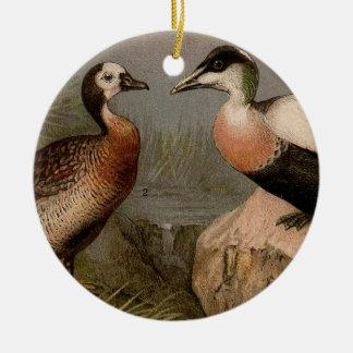 Ornement Rond En Céramique Peinture vintage colorée des canards