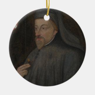 Ornement Rond En Céramique Peinture vintage de portrait de Geoffrey Chaucer