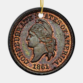 Ornement Rond En Céramique Penny confédéré de cuivre de l'argent 1861