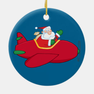 Ornement Rond En Céramique Père Noël-Claus-Vol-Un-avion-et-Ondulation