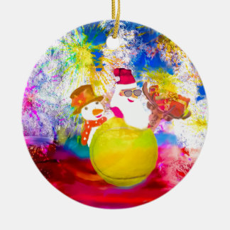 Ornement Rond En Céramique Père Noël et ses amis apprécient la saison