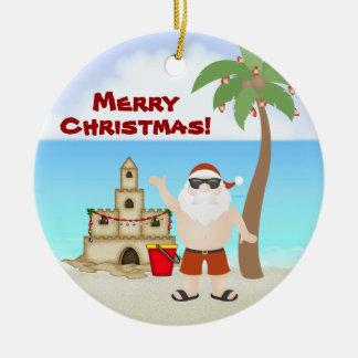 Ornement Rond En Céramique Père Noël mignon aux vacances de Joyeux Noël de