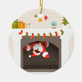 Ornement Rond En Céramique père Noël noir coincé en cheminée