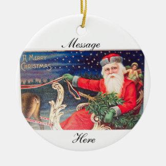 Ornement Rond En Céramique Père Noël sur le cru de Thunder_Cove de traîneau