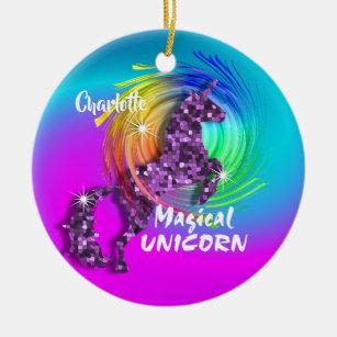 Ornement Rond En Céramique Personnalisé Rainbow Unicorn Cute Girly