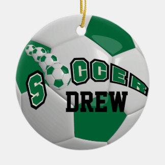 Ornement Rond En Céramique Personnalisez le ballon de football   vert-foncé
