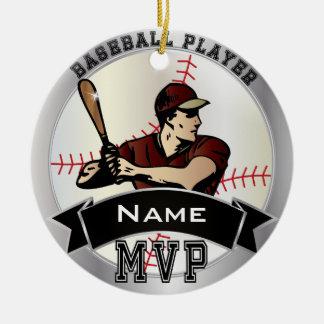 Ornement Rond En Céramique Personnalisez le base-ball de MVP