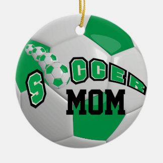 Ornement Rond En Céramique Personnalisez le vert du ballon de football  