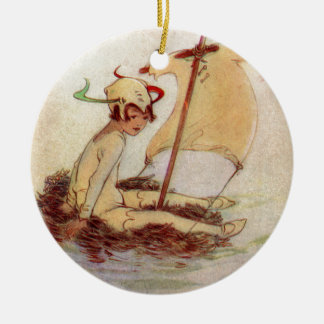 Ornement Rond En Céramique Peter Pan sur le radeau de nid