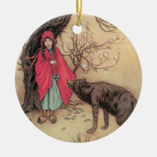 Ornement Rond En Céramique Petit capuchon rouge vintage par Warwick Goble