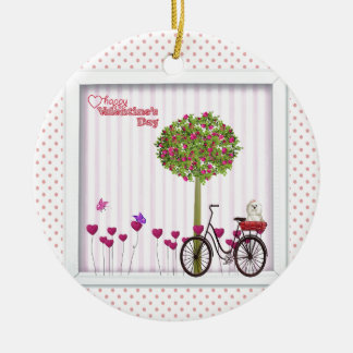 Ornement Rond En Céramique Petit chien, panier, bicyclette, arbre de fleur et
