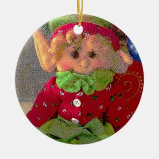 Ornement Rond En Céramique Petit elfe mignon de fille de Noël