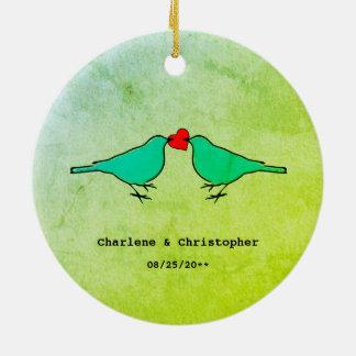 Ornement Rond En Céramique Petit épouser d'oiseaux