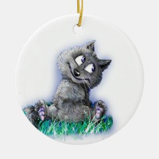 Ornement Rond En Céramique Petit loup
