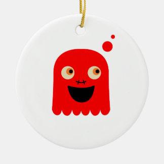 Ornement Rond En Céramique Petit monstre rouge mignon sur le blanc