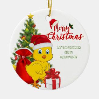 Ornement Rond En Céramique Petit Noël de poulet de bébé