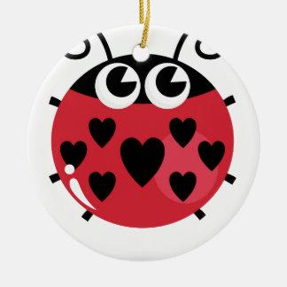 Ornement Rond En Céramique Petite abeille mignonne avec les points noirs