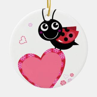 Ornement Rond En Céramique Petite abeille mignonne rouge avec des points