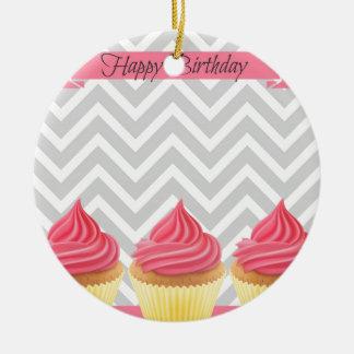 Ornement Rond En Céramique Petits gâteaux de joyeux anniversaire