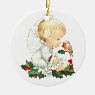 Ornement Rond En Céramique Peu d'ornement de Noël d'ange
