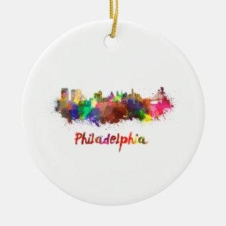 Ornement Rond En Céramique Philadelphie skyline in watercolor