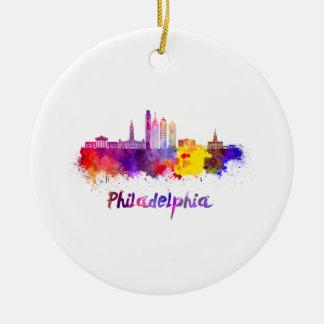 Ornement Rond En Céramique Philadelphie V2 skyline in watercolor