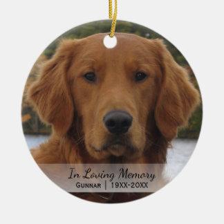 Ornement Rond En Céramique Photo de chien dans Noël affectueux d'année de nom