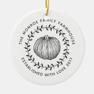 Ornement Rond En Céramique Photo de famille de guirlande de citrouille de