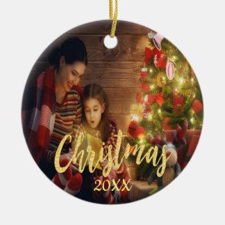 Ornement Rond En Céramique Photo de famille faite sur commande de Noël avec