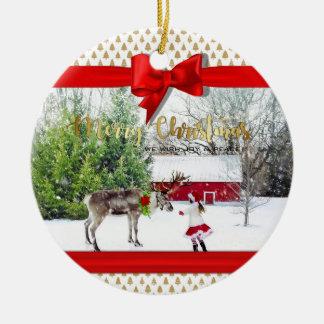 Ornement Rond En Céramique Photo de joie et de paix de Noël