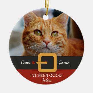 Ornement Rond En Céramique Photo drôle de chat de Père Noël de Noël et