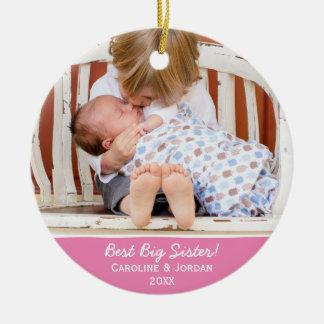 Ornement Rond En Céramique Photo faite sur commande de Noël du meilleur bébé